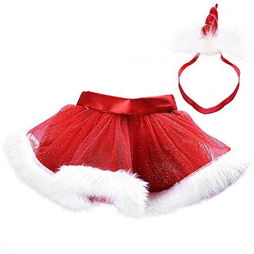 Weihnachts Kostüm Tanz Ballett - MMTX Weihnachten Little Red Dress Mädchen Fluffy Tüll Rock Tutu Kostüm Tanz Leistung Ballett Rock für Weihnachtsfeier 0-8 T (mit Stirnband)