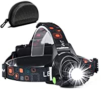 Cobiz LED Head Torch, Super Bright Head-lamp with 3 Modes Helmet Light Waterproof Zoomable Headlight for Running Walking Camping Fishing Car Repair DIY