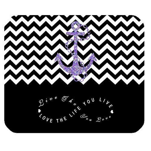 Black Colorblock Chevron Zigzag Infinity Anchor Mauspad Computer Mousepad 300 * 250 * 3mm, Love The Life You Live Rectangle Non-Slip Rubber Mousepad Mauspad Computer Mousepads Case Cover Black Skull Hard Case
