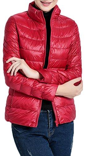 Mochoose Doudoune Ultra Légère Veste Manteau Parka Blouson Zippée Manches Longues Hiver pour Femme Rouge