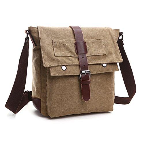 Outreo Umhängetasche Herren Messenger Bag Schultertasche Vintage Taschen Canvas Kuriertasche für Schule Reisetasche Freitag Retro Herrentaschen Freizeit Beige