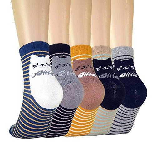 FULIER Frauen Damen Lustige Cute Design Bequeme Baumwolle Rich Knöchel Crew Socken (Gepolsterte Boot-socke Thermische)