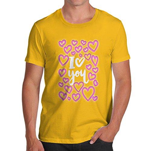 TWISTED ENVY Herren T-Shirt I Love You Neon Hearts Print Gelb