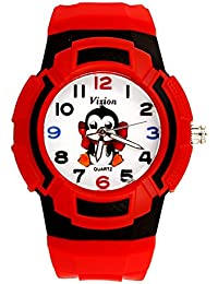 Vizion Analog Multi-Color Dial (Sutru-The Baby Penguin) Cartoon Character Red Watch for Kids- 8565AQ-6-3