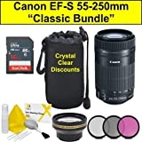 Classic Bundle for Canon EF-S 55-250 mm f/4-5.6 is STM Lenses, Black