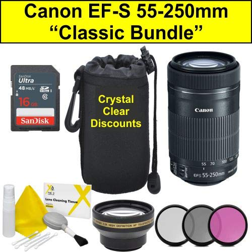 Classic Bundle For Canon EF S 55 250 mm f/4 5.6 IS STM Lens,Black (EF S 55 250 mm)