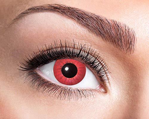 Electro Kostüm Schwarz - Goldschmidt Kontaktlinsen Jahreslinsen mit Sehstärke Dioptrien Halloween Qualitätsprodukt (Electro red, -1,00)