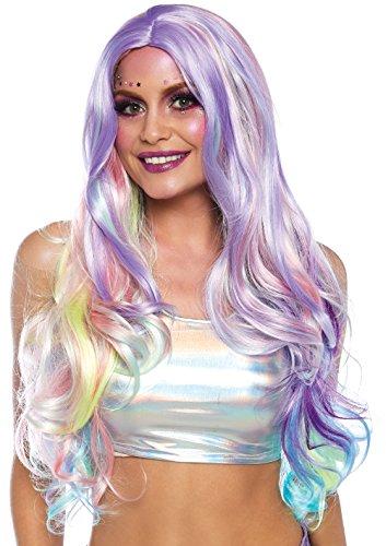 LEG AVENUE A1532 - Lange Perücke mit weicher Welle in Pastellregenbogenfarben, Einheitsgröße(Multicolor) -