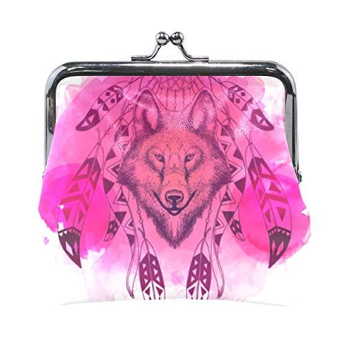 FAJRO - Monedero con diseño de lobo de acuarela con atrapasueños