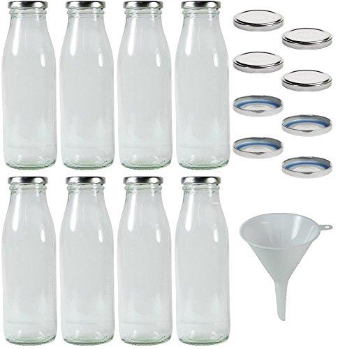 8 x Milchflaschen 0,5 Liter mit 16 x PVC freiem Schraubverschluss Silberfarben Zum Selbst befüllen, inkl. Trichter Ø 9 cm - Milch Flasche Mit Twist Deckel