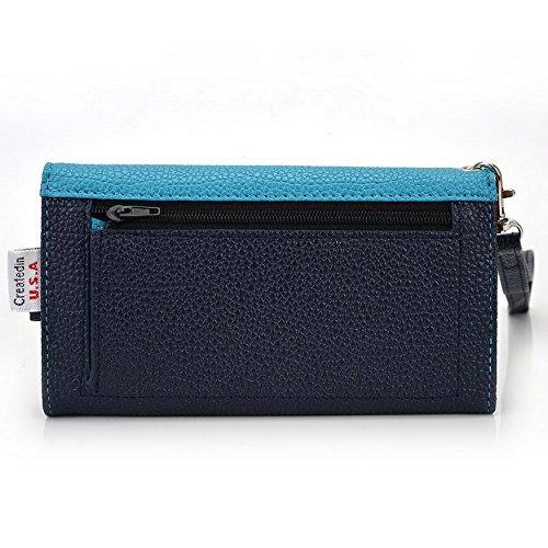 Kroo Pochette Téléphone universel Femme Portefeuille en cuir PU avec dragonne compatible avec Lenovo S750/A328 noir - noir Bleu - bleu