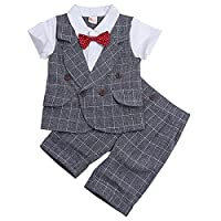iEFiEL Boys Infant 2PCS Plaid Summer Gentleman Outfits Sets Short Sleeves Bowtie T-shirt + Short Pants Gray 4 Years
