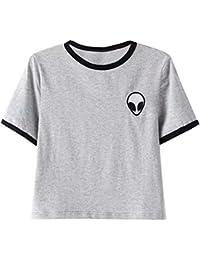 ROPALIA Femmes Fille Alien Imprimé T-Shirt Top Blouse Manches Courtes Crop Tops Eté.