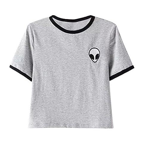 ROPALIA Femmes Fille Alien Imprimé T-Shirt Top Blouse Manches Courtes Crop Tops Eté. (S, Gris)