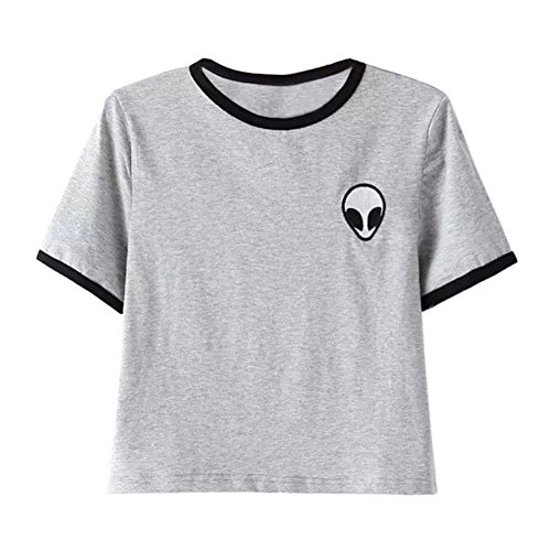 ROMANTIC BEAR Frauen Madchen Casual Short Sleeve Sommerstrand Alien Druck T-Shirt