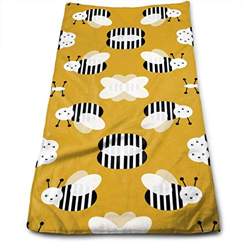 ERCGY Bumble Bee Garden Summer Cute Stripes Kitchen Towels - Dish Cloth - Machine Washable Cotton Kitchen Dishcloths,Dish Towel & Tea Towels for Drying,Cleaning,Cooking,Baking (12