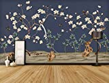 HONGYUANZHANG Blaue Blumen- Und Vogelpflanze Benutzerdefinierte 3D-Foto-Tapete Künstlerische Landschaft Fernsehhintergrundtapete,56Inch (H) X 88Inch (W)