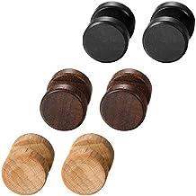 Aroncent Pendientes de Acero Inoxidable Quirúrgico y Madera para Oído Dumbbells Aretes de Perno Forma Pesas