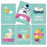 Moderne Pâques cartes en kit 12cartes format A6+ enveloppes blanc, design moderne turquoise blanc pour Pâques cartes de vœux blanches arrière