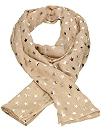 SwankySwans Stunning Scarves - Star Foil Silver Print Womens Ladies Large Soft Quality Scarf Shawl