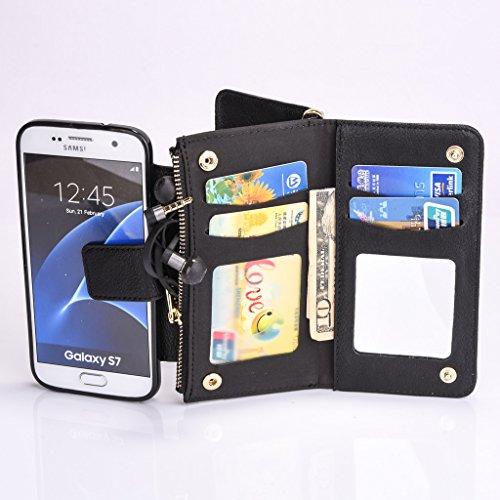 """Multi-function Wallet Case Hülle für Apple iPhone 6/6S 4.7"""" - Aohro Leder Tasche Schutzhülle Etui Brieftasche Handyhülle Flip Stand Cover mit Kartenfächer - Weiß Schwarz"""