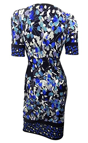 Marks & Spencer navy v neck fitted stretchy shift dress printed with leaves cross over bodice (14)