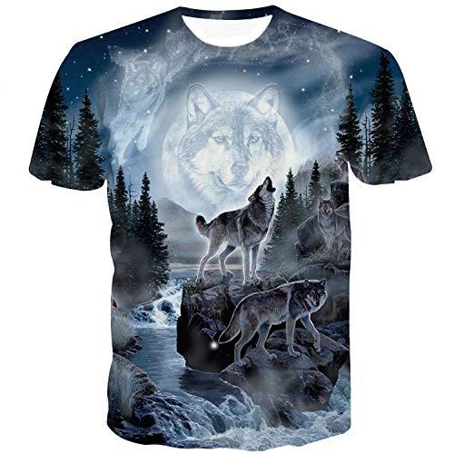 Sykooria T Shirts Herren Kurzarm 3D Digital Druck Wölfe Animal Freizeit Männer Damen T-Shirts (T-shirt Weiß Banane)
