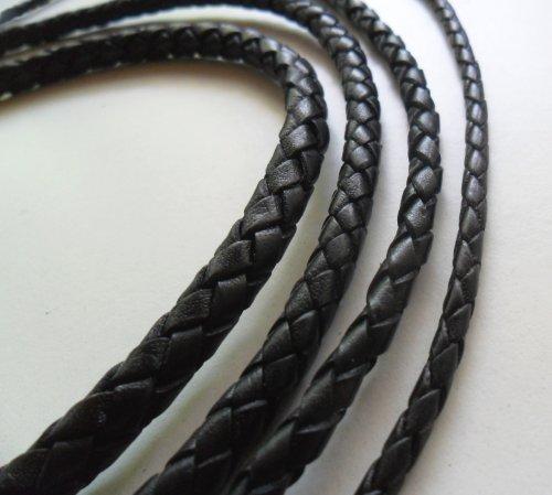 AURORIS - Lederband geflochten - Durchmesser / Farbe / Länge wählbar - Variante: Ø 3mm / schwarz / 1m