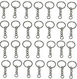 Tesan Set 30 Schlüsselringe mit Kette Schlüsselanhänger Keyring Chain 25mm Edelstahl