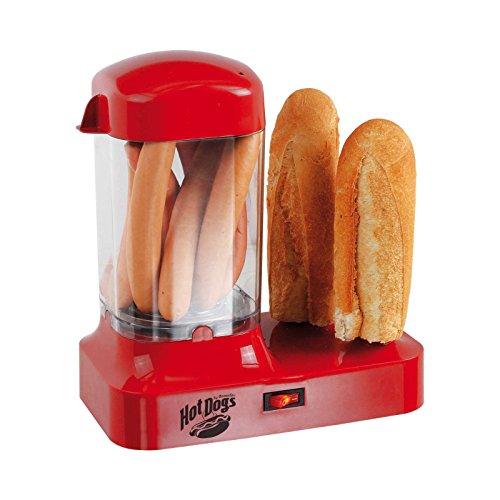 Hot Dog Maker Würstchenwärmer für 8 Würstchen Hotdog Maschine (Wärmebehälter, Brötchen und Wurst, Hotdogmaschine, Rot)