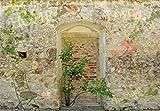 1art1 63839 Mauern - Romantische Garten-Mauer, 3-Teilig Selbstklebende Fototapete Poster-Tapete 360 x 250 cm
