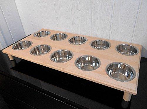 Welpenbar/ Welpennäpfe / Welpenfutter, tolle Futterbar mit 10 Edelstahlnäpfen mit je 350 ml. Handgefertigtes Hundezubehör und Tierbedarf. Lackierung in Klarlack! (SPw)