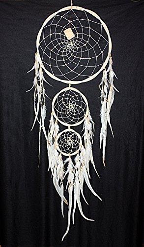 Hejoka-Shop NEUHEIT Edler Indianer Rattan Traumfänger 3 Ringe XXL 40/130 cm. Riesen Dreamcatcher Weiss White Fotoshooting -
