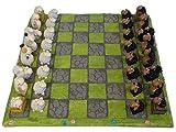 Unbekannt Maritimes Schachspiel mit Schaf-Figuren für Erwachsene und Kinder | Set inklusive 32 lustiger Schachfiguren in 6 Designs | Aus beständigem Polyresin | 32 x 32 cm