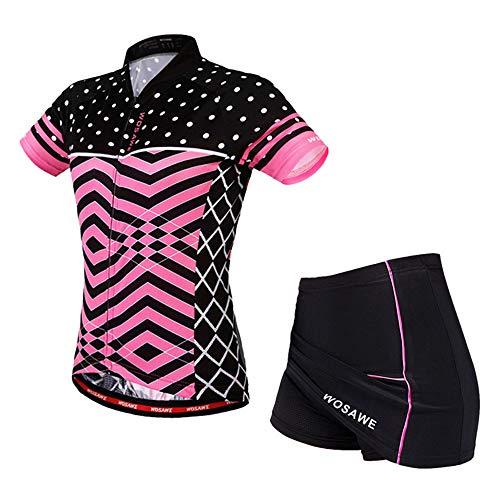 Damen Trikots Mountainbike-Reitrock-Set Kurzarmshirts Röcke Atmungsaktive Silikonmatte Shorts mit reflektierenden Streifen,Pink,S