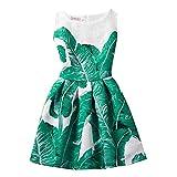 NACHEN Abito per le ragazze senza maniche di banana stampa foglia di fiori vestito sottile principessa per bambini , green , 160cm