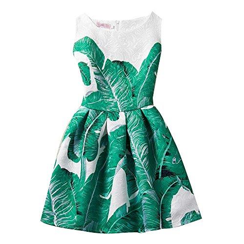 NACHEN Kleid für Mädchen Sleeveless Bananenblatt-Druck-Blumen-Kleid-dünner Prinzessin Kinder Rock , green , (2 1 Kostüme Alter Superhelden)