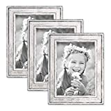 PHOTOLINI 3er Set Bilderrahmen Pastell/Alt-Weiß Silber 13x18 cm Massivholz mit Vintage Look/Fotorahmen / Wechselrahmen