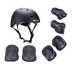 Idea Regalo - Set di protezione/sicurezza sportiva per bambini Kamugo, regolabile, con imbottiture protettive (casco, ginocchiera, gomitiera, polsiera), per pattini a rotella, bicicletta, BMX, skateboard, hoverboard e altri sport estremi, Black