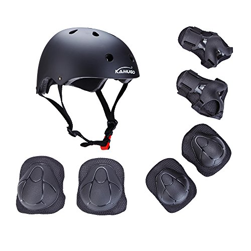 Kamugo Kids Youth Adjustable Sports Protective Gear Set Safety Pad Safeguard (Helmet Knee Elbow Wrist) Roller Bicycle BMX Bike Skateboard Hoverboard and Other Extreme Sports Activities (black)