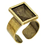 14* 10mm rectangular Base anillo para cabuchón Swarovski 4527., 10piezas/lot