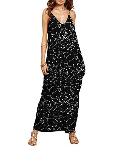 Cystyle Damen Sommerkleid lange V-Ausschnitt Swing Maxi Oversize Party Strandkleid Stil 9