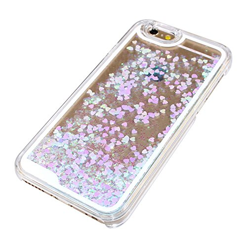 iPhone 6 Hülle iPhone 6S Hülle,iPhone 6S Case,EMAXELERS Hart Plastik Schutzhülle Hülle Case Cute Cherry Blossom Rabbit Muster Hart Transparente Clear Cover Silver Pink Animals Series Sparkles Diamant  Heart Series 6