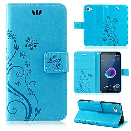 betterfon | Flower Case Handytasche Schutzhülle Blumen Klapptasche Handyhülle Handy Schale für HTC Desire 12 Blau