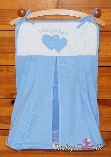 Nappy Stacker//Diaper Bag Match Baby Nursery COT or COT Bed Love You Heart Embroidery Blue