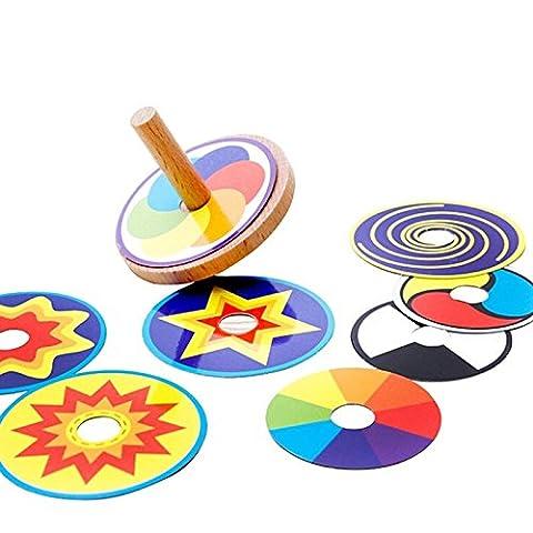 Holz Kreisel mit 8 bunten Blättchen Spielkreisel / Holzkreisel zum schnellen Drehen