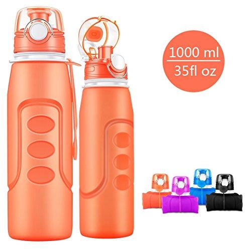 Bepack faltbare Sport Flasche, 1000 ml (35 Unzen) faltbare Silikon Flasche Leck-Proof Medical Grade Trinkflaschen zum Radfahren, Fahrradfahren, Camping, Reisen-BPA frei