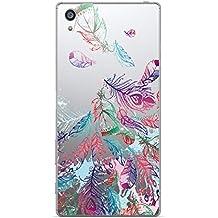 NOVAGO Elegante funda Sony Xperia Z5 PREMIUM gel de silicona irrompible ultra resistente (Plumas colorado 2)