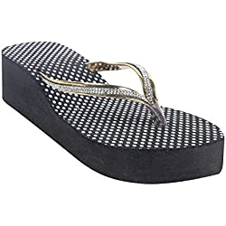 High Brands women's footwear | Rubber Wedges Slippers for Women's and Girl's | OL-9 (37, Golden)