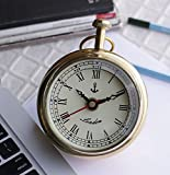 #10: Antique look Round White Gold Color Brass Metal Craft Dial Analog Desk table Clock Gifts - 5 inch